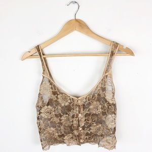 Vintage Lace Lingerie Crop Top